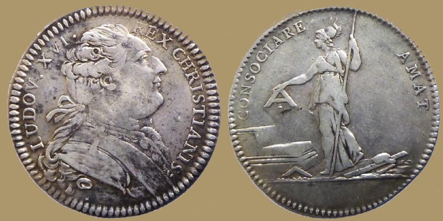 World Coins - France - Louis XVI - Silver jeton - Masonic token : Loge Les Amis de la Liberté