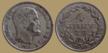World Coins - Denmark - Frederick VII - 4 Skilling Rigsmont 1854