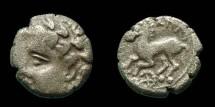 Ancient Coins - Celtic Gaul - Allobroges Trib (Dauphiné) - AR Quinarius - IAZUS type