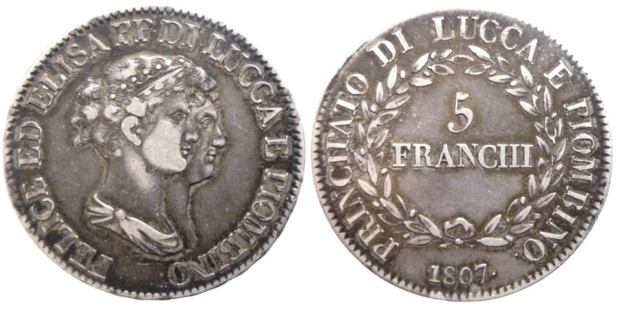 World Coins - ITALY -Principality of Lucca and Piombino - Elisa Bonaparte and Felice Pasquale Baciocchi - 5 Franchi 1807