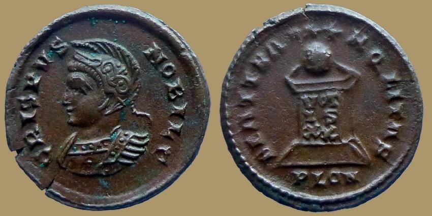 Ancient Coins - Crispus - AE reduced follis - BEATA TRANQLITAS - London mint