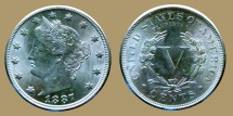 Us Coins - USA- Liberty - 5 cents 1887 -