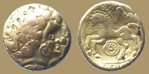 World Coins - Celtic Gaul - CALETES (Caux aera) - Electrum 1/4 stater à la roue - rare