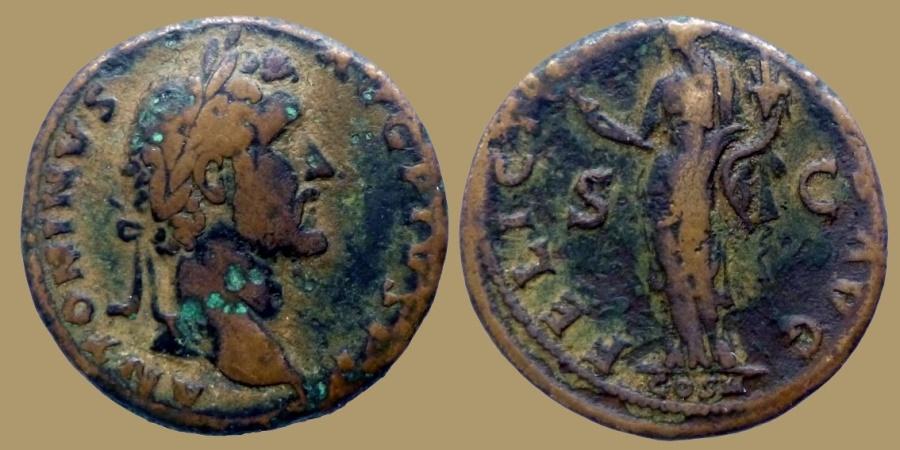 Ancient Coins - Antoninus Pius - Sestertius - FELICITAS AVG COS II - RIC.535