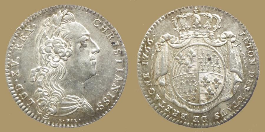 World Coins - France - Louis XV - Silver Jeton Etats de Bretagne 1766 (Britanny) - session de Rennes