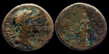 Ancient Coins - Augustus and Livia - AE20 - Smyrna -  Magistrate Dionysios Kollubas