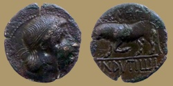 Ancient Coins - Gaul, Uncertain mint. Augustus. 27 B.C.-A.D. 14 Æ. Ca. 10 B.C. Germanus Indutilli L., magistrate