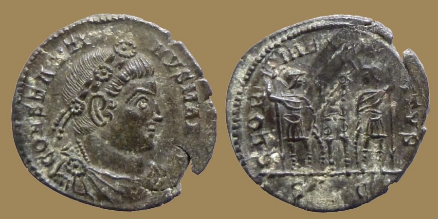 Ancient Coins - Constantine I - AE reduced Follis - GLORIA EXERCITVS - SLG = Lyon