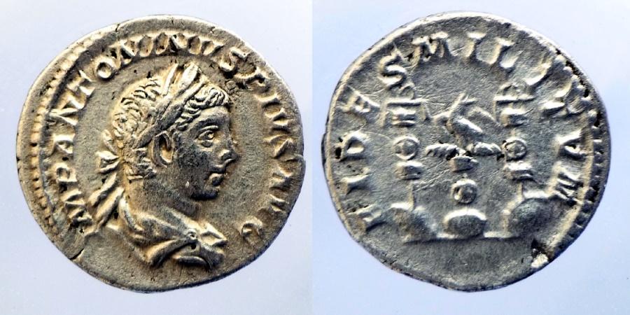 Ancient Coins - ELAGABALUS - AR Denarius - FIDES MILITVM - Aquila between two standarts