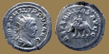 Ancient Coins - Philippus - AR Antoninianus - AETERNITAS AVGG - Elephant