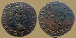 World Coins - France - HENRI III - Double Tournois 1583 G = Poitiers - very nice quality for type
