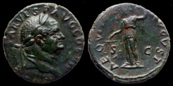 Ancient Coins - VESPASIAN - AE As - AEQVITAS AVGVST - Rome