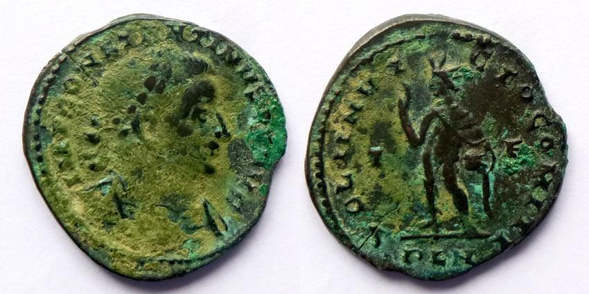 Ancient Coins - Constantine the Great - AE  follis - SOLI INVICTO COMITI  - globe close to body - london - Not in RIC