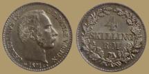 World Coins - Denmark - Christian IX - 4 Skilling Rigsmont 1871 CS - Quality