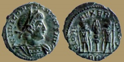 Ancient Coins - Constantius II as Augustus - AE reduced Follis - GLORIA EXERCITVS - Trier