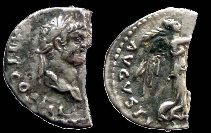 Ancient Coins - DOMITIAN - AR Quinarius - VICTORIA AVGVSTI -- Broken only one half - portrait