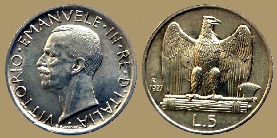 World Coins - ITALY - Vittorio Emanuele III - 5 Lire 1927 - UNC