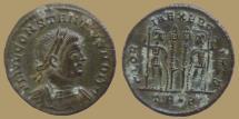 Ancient Coins - Constantius II as Caesar - AE reduced Follis - GLORIA EXERCITVS - Trier - RIC. 540