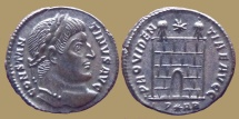 Ancient Coins - Constantine I - AE reduced follis - PROVIDENTIAE AVGG - Camp gate - Arles - RIC.264 - Quality