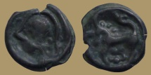 Ancient Coins - Celtic Gaul - Senones Trib  -  Potin à la tête casquée et à la rosace