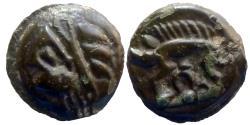 Ancient Coins - Celtic Gaul - Leuci - Potin à la tête d'indien - high relief!