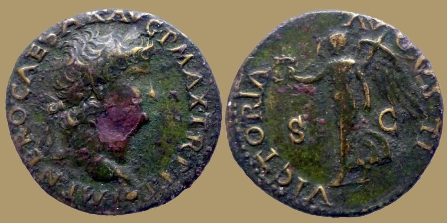 Ancient Coins - NERO - Dupondius - VICTORIA AVGVSTI - Lyon - RIC.522