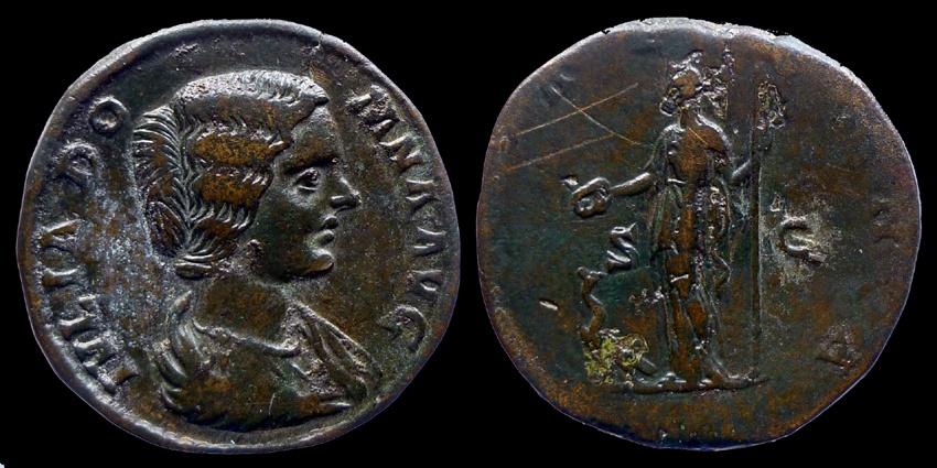 Ancient Coins - JULIA DOMNA - AE Sestertius - IVNO REGINA - nice portrait