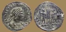 Ancient Coins - CONSTANTIVS II Caesar - AE reduced Follis -GLORIA EXERCITVS - Lyon