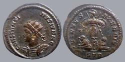 Ancient Coins - Constantine II Caesar - AE Reduced follis - VIRTVS EXERCIT Captives - Trier - NOT in RIC for officina - RR