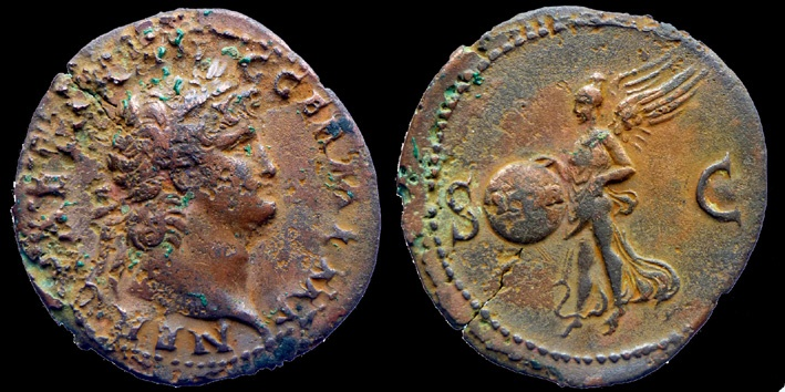 Ancient Coins - NERO - AS - Victory - Lyon