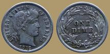 Us Coins - USA - Barber - Dime 1916