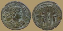 Ancient Coins - Constantius II as Caesar - AE reduced Follis - GLORIA EXERCITVS - Trier - RIC. 592
