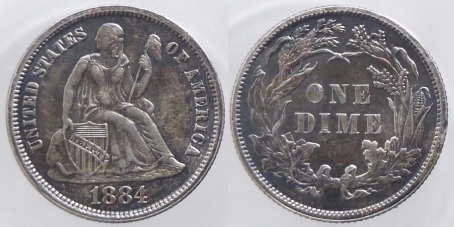 US Coins - USA - Seated Liberty - Dime 1884 - nice quality
