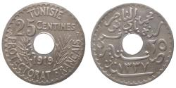 World Coins - TUNISIA - Muhammad al-Nasir Bey - 25 centimes 1919 - Paris - Quality