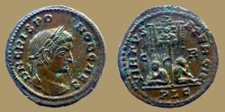 Ancient Coins - CRISPUS - AE reduced follis - VIRTVS EXERCIT - Lyon mint - RIC.116 - Superb