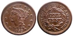 Us Coins - USA - Braided Hair- ONE CENT 1853 - Quality !!!