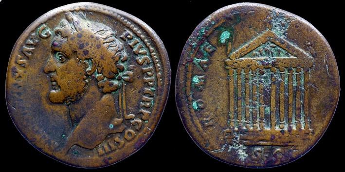 Ancient Coins - ANTONINUS PIUS - AE Sestertius - ROMAE AETERNAE  temple - rare left bust