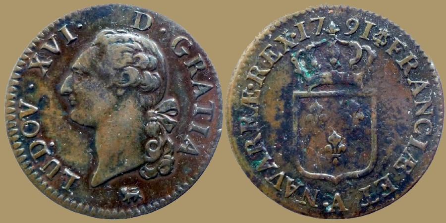 World Coins - FRANCE - Louis XVI - sol à l'écu - 1791 A - Paris