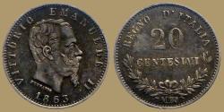 World Coins - Italy - 20  centesimi 1863 M