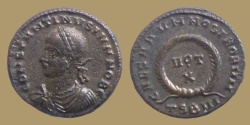 Ancient Coins - Constantine II Caesar - AEreduced follis - CAESARVM NOSTRORVM - Thessalonica