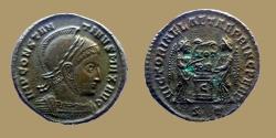 Ancient Coins - Constantine I - AE reduced Follis - VICTORIAE LAETAE PRINC PERP - Ticinum - RIC.90 R2