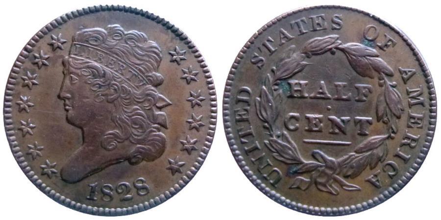 US Coins - Half cent 1828 13 stars - Attractive