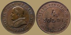 World Coins - VATICAN - PIUS IX - 4 Soldi - 1867  R - KM.1374