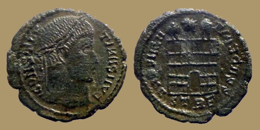 Ancient Coins - Constantine I - Ae reduced follis - PROVIDENTIAE CASS - Gallic imitation from Trier mint