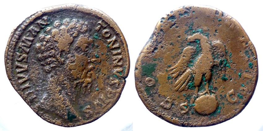 Ancient Coins - DIVVS MARCVS AVRELIVS - Sestertius - CONSECRATIO - Eagle on globe
