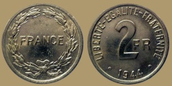 World Coins - FRANCE - France Libre - 2 Francs 1944 struck in Philadelphia (USA) - nice quality