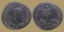 Constantine I - AE Reduced Follis – VIRTVS EXERCIT  - Ticinum mint - RIC. 114