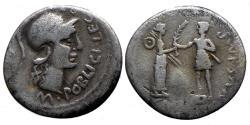 Ancient Coins - Pompeius Magnus - AR denarius - Poblicius - Spain