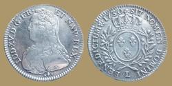 World Coins - France - Louis XV - 1/2 écu aux branches d'olivier - 1730 L = Limoges