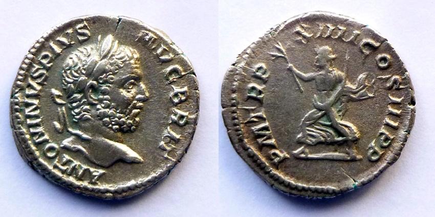 Ancient Coins - Caracalla - Denar - PM TRP XIIII COS III PP - PAX